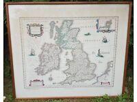 British Isles Old Map 'Magnæ Britanniæ et Hiberniæ Tabula' by Willem Blaeu