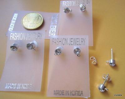 Base pendientes con anilla cristal y plata X 4 PARES 5 mm...