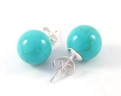 Aquamarine Sterling Silver Stud - NEW .925 Sterling Silver Simple & Elegant 10mm Blue Turquoise Ball Stud Earrings
