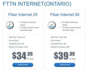 Bell 25 Mbps unlimited internet $34.99/m or 50 M $39.99/m! WOW!