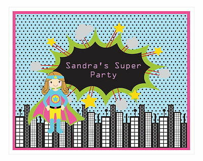 Personalized Super Hero Girl Theme Sign Birthday Party - Superhero Themed Party