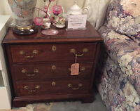 Rich Brown Wooden Side Table with 3 Drawers an Brass hardware