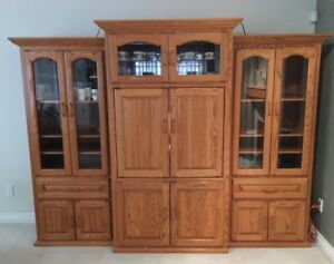 Solid Oak Entertainment centre / Display cabinet