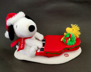 Musical Christmas Snoopy Plush Toy Playing Piano