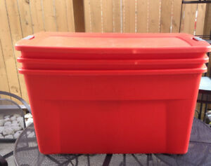 3 ORANGE STERILITE STORAGE BOXES w WHEELS & ONLY ONE LID