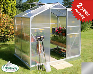 Lacewing Essential Silver Aluminium Greenhouse w Base Polycarbonate Green House