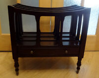 Bombay Company Magazine Rack on Casters with a drawer