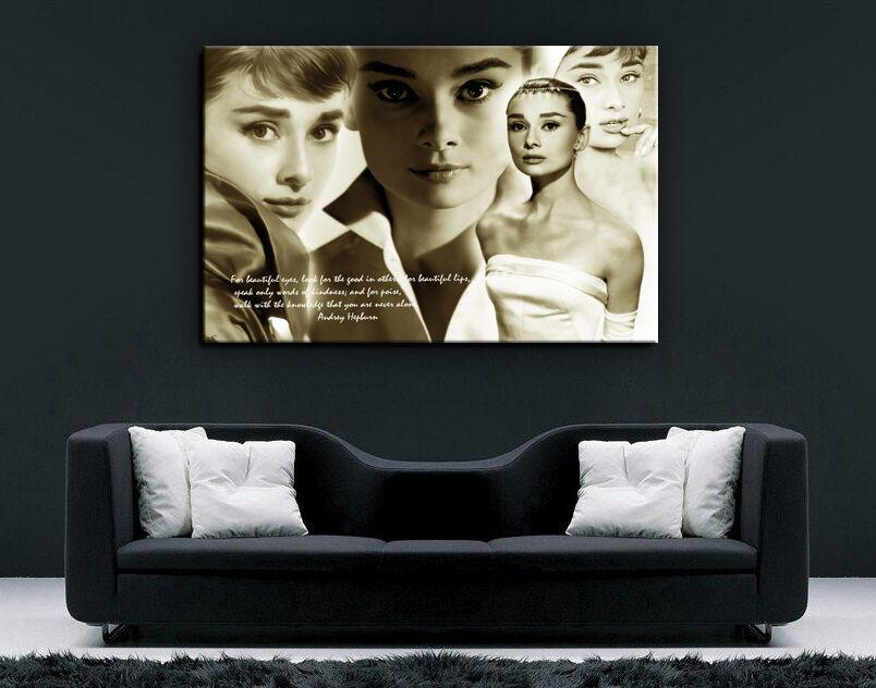Audrey Hepburn 1p Bild Bilder auf Leinwand Wandbild Poster