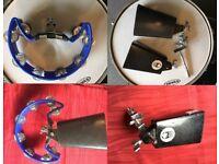 Wokingham Drum Sales - Percussion Centre !! -2 x Cowbells Mounted Tambourine Posts - Will Split