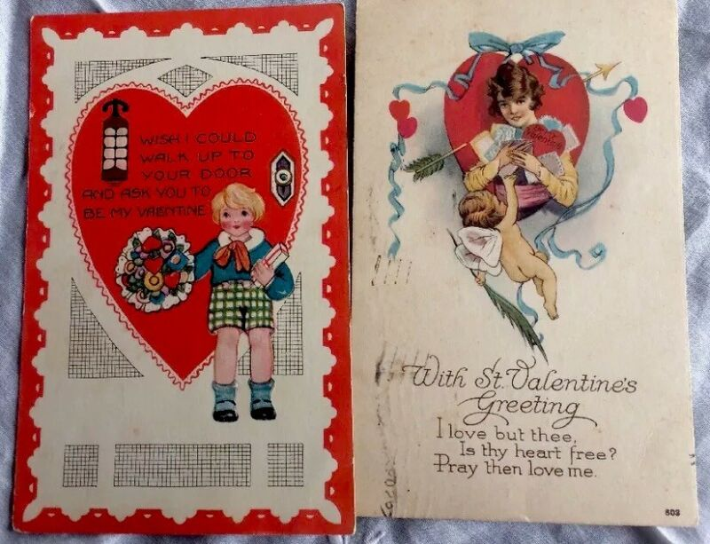 Antique Valentines Postcards Gorgeous Set Of 2 Used Posted Damaged