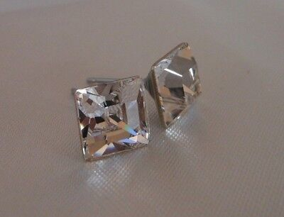 HYPOALLERGENIC Stud Earrings Swarovski Elements Crystal in Large Clear Square ()