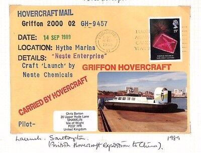 AX194 1989 GB HOVERCRAFT Commemorative Flight Cover Griffon Hythe