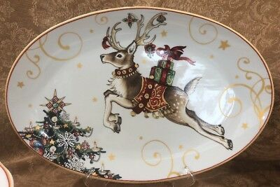 SALE! NIB~WILLIAMS SONOMA TWAS THE NIGHT BEFORE CHRISTMAS OVAL REINDEER PLATTER ()