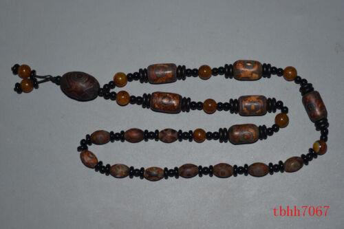 Tibetan prayer worry dzi bead old agate 9 3 eyes amulet necklace gzi tibet
