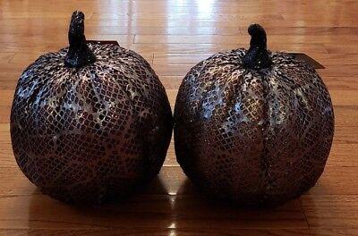 Halloween Large Purple Orange Lace Pumpkin Decoration - Halloween Decor