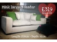 NEW Mink 3 Seater Sofa, Can Deliver