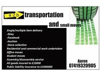a2b transportation and small moves. man and van. student movers. collection and delivery