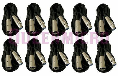 10 Pack - 25ft XLR Pro Audio 3Pin Male to Female Mixer MIC Microphone Cord Cable