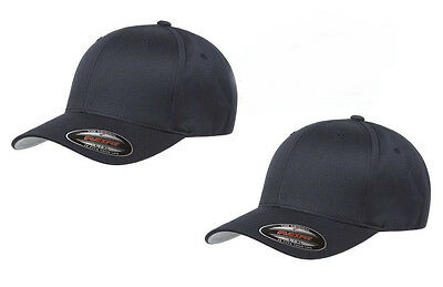 2pk New Flexfit 6277 Wooly Combd Twill Fitted Baseball Cap Black Hat S/M L/XL XX Twill-fitted Cap