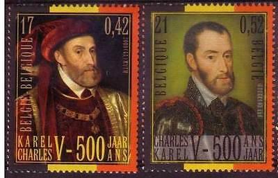 Belgien**KAISER KARL V 500. Geburtstag-2 Mkn-Charlequint-Keizer Karel