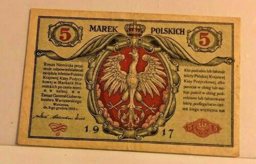 POLAND 5 MAREK BANKNOTE 1917 WWII VF P-11
