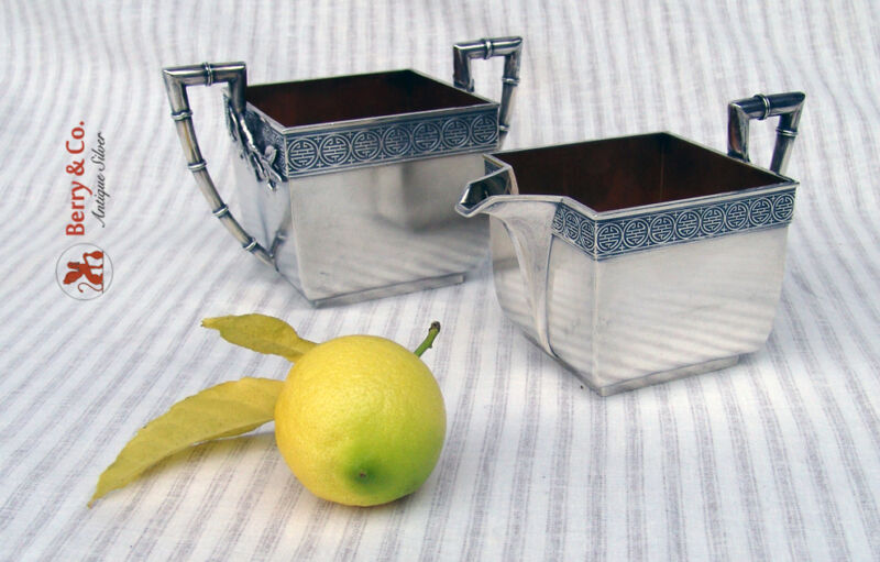 Japanesque Creamer and Sugar Bowl Gorham Sterling Silver 1874