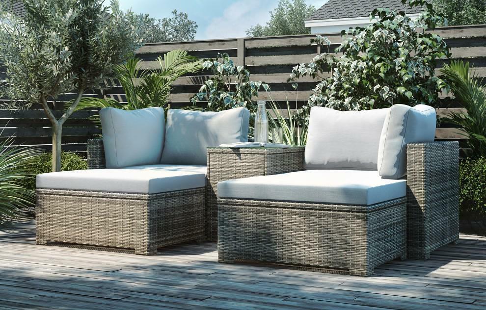 Garden Furniture - King Rattan Garden Furniture Lounge Set, Grey Cushion - RRP £799.00