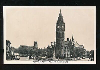 Lancashire Lancs ROCHDALE Town Hall Parish Church street scene c1950/60s RP PPC
