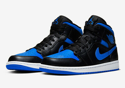 Nike Air Jordan 1 Mid 554724-068 Black Hyper Royal White Mens