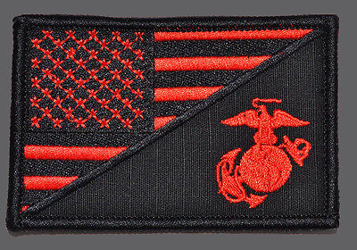 USA FLAG MARINE CORPS USMC R/B TACTICAL MORALE HOOK PATCH