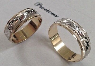 14K SOLID TWO TONE GOLD HIS AND HER WEDDING BAND RING SET SZ 5-13 FREE