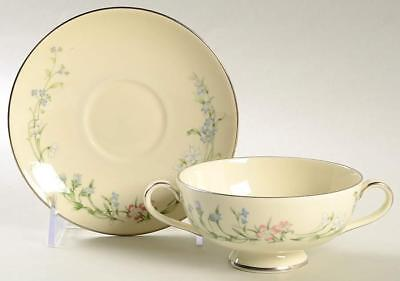 Minton Brookwood Fine Bone China Platinum Trim Cream Soup Bowl & Saucer
