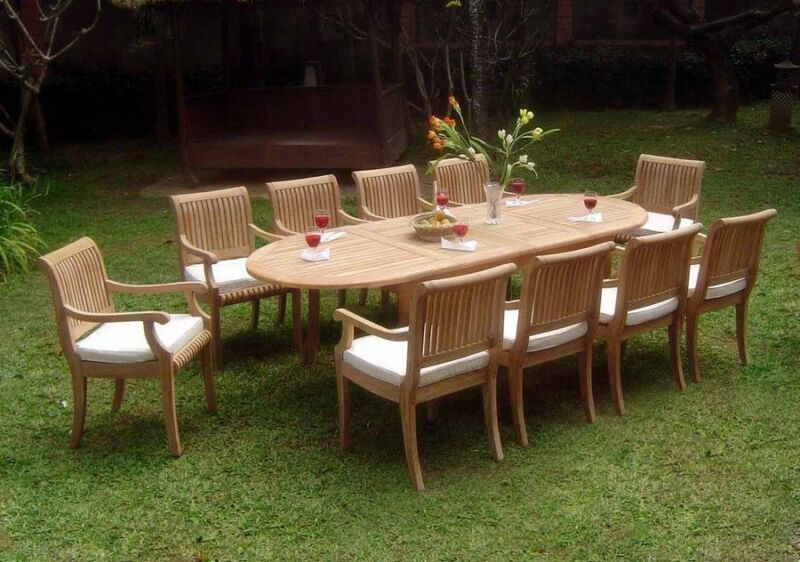 A GRADE TEAK - 11 PC DINING SET GARDEN OUTDOOR PATIO FURNITURE POOL D3 GIVA DECK