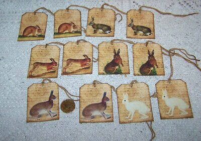 8~Easter~Spring~Hare~Bunnies~Le Lapin~Linen Cardstock~Gift~Hang~Tags