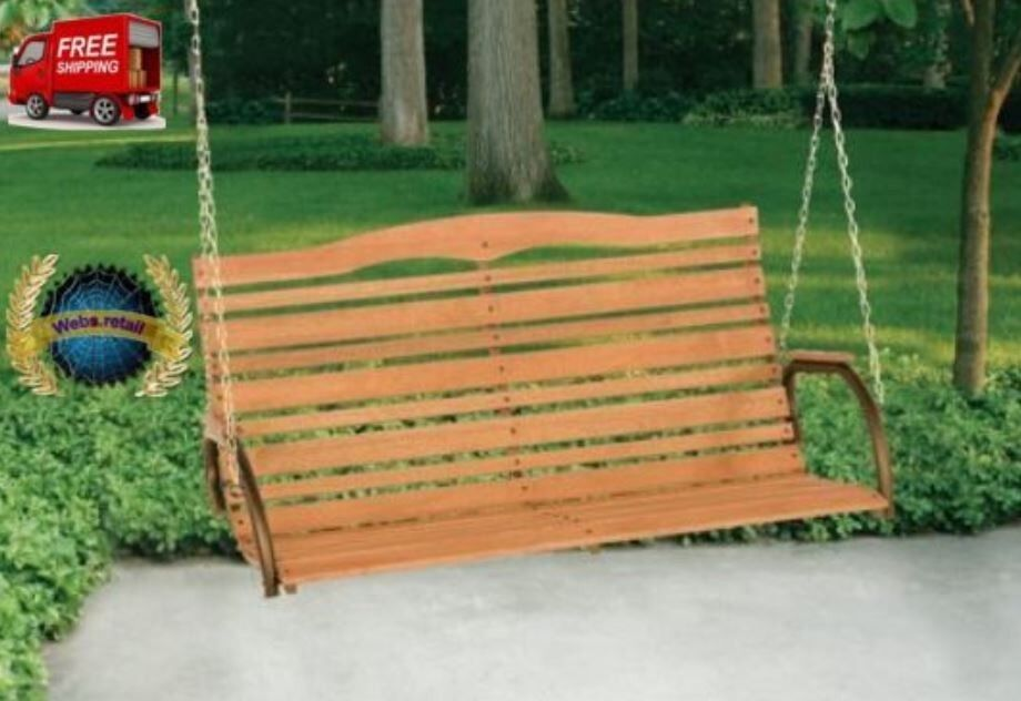 "Jack Post 48"" High Back Wood 2-Person Porch Swing with Chain"