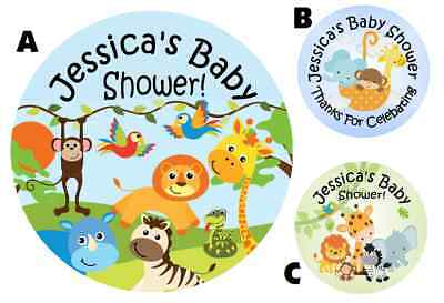 JUNGLE SAFARI ANIMALS PERSONALIZED BABY SHOWER PARTY STICKERS FAVORS LABELS C
