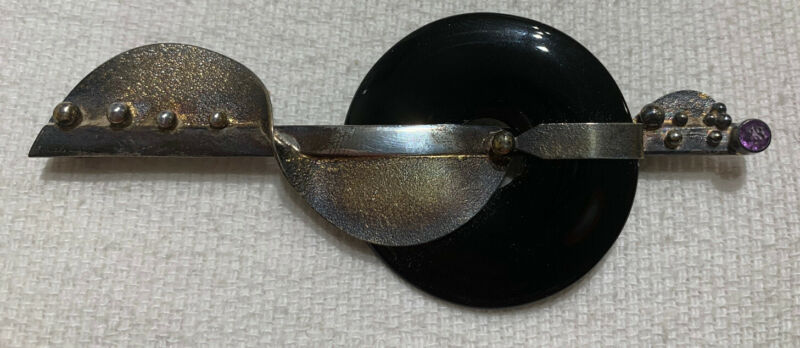 vintage Modern sterling silver and onyx pin with amethyst