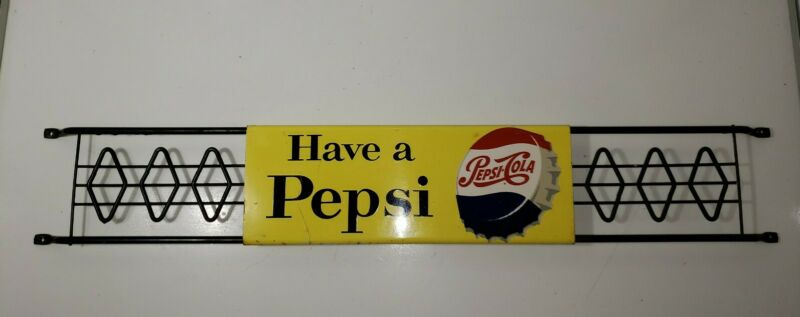 "PEPSI COLA SCREEN DOOR PUSH PULL BAR 1968 LONG & HEAVY 2 SIDED STOUT M-168 30"""