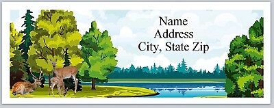 Personalized Address Labels Pretty Scenery Lake Deer Buy 3 Get 1 Free P 534