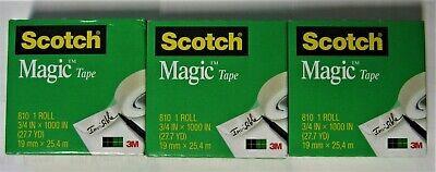 3 Refill Rolls Scotch Magic Invisible Tape 34 X 1000 Inches 1 Inch Core New