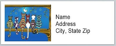 Personalized Address Labels Abstract Cats Moonlit Night Buy 3 Get1 Free Bx 520