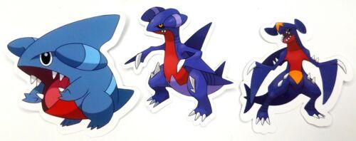 Gible, Gabite, Garchomp - 3 Vinyl Pokemon Sticker Dragon Evolution Set - Gen 4