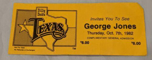 George Jones Unused Concert Ticket Oct 7, 1982 Billy Bob