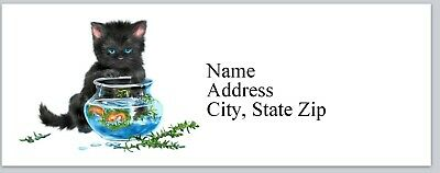 Personalized Address Labels Cat Playing with Fish Bowl Buy 3 get 1 free (bx 349)