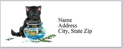 Personalized Address Labels Cat Playing With Fish Bowl Buy 3 Get 1 Free Bx 349