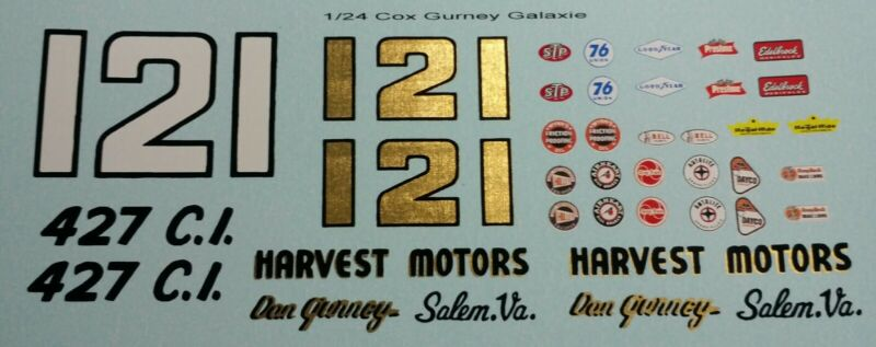 Repro 1/24 Cox Dan Gurney Ford Galaxie Decal Set