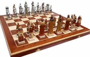 Schach Exclusives Schachspiel GRUNWALD Handbemalt 60 x 60 cm KH 135 mm Marmor