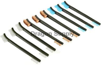 New 9pc Double Ended Gun Cleaning Brush Set 7in - Nylon Plastic Copper Brush