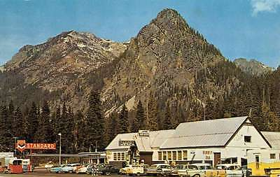 Snoqualmie Pass Washington Street Scene Store Fronts Vintage Postcard K52430