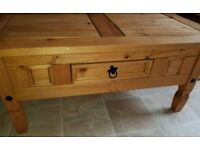 Solid pine coffee table with drawer £30ono